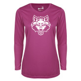 Ladies Syntrel Performance Raspberry Longsleeve Shirt-Red Wolf Head