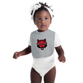 Grey Baby Bib-Red Wolf Head