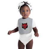 Grey Baby Bib-Red Wolf Head