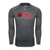 Under Armour Carbon Heather Long Sleeve Tech Tee-Red Wolf Head w/A State