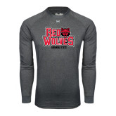 Under Armour Carbon Heather Long Sleeve Tech Tee-Red Wolves Stacked Head on Right