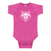Fuchsia Infant Onesie-Red Wolf Head