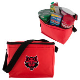Six Pack Red Cooler-Red Wolf Head