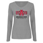Ladies Grey Long Sleeve V Neck Tee-University Mark