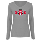 Ladies Grey Long Sleeve V Neck Tee-A State
