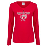 Ladies Red Long Sleeve V Neck Tee-Camellia Bowl Face Mask Design
