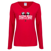 Ladies Red Long Sleeve V Neck Tee-Camellia Bowl Helmets Design