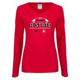 Ladies Red Long Sleeve V Neck Tee-AState 2018 Arizona Bowl