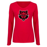 Ladies Red Long Sleeve V Neck Tee-Red Wolf Head
