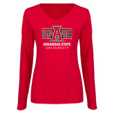 Ladies Red Long Sleeve V Neck Tee-University Mark