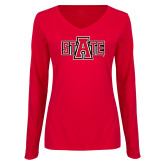 Ladies Red Long Sleeve V Neck Tee-A State