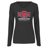 Ladies Dark Heather Long Sleeve V Neck Tee-University Mark