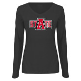 Ladies Dark Heather Long Sleeve V Neck Tee-A State
