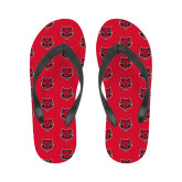 Ladies Flip Flops-Red Wolf Head