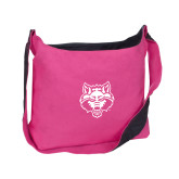 Cotton Canvas Tropical Pink/Charcoal Sling Bag-Red Wolf Head