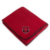 Red Arctic Fleece Blanket-Red Wolf Head