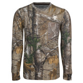 Realtree Camo Long Sleeve T Shirt w/Pocket-Red Wolf Head