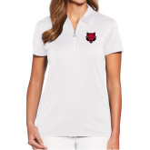 Ladies Callaway Tulip Sleeve White Zip Polo-Red Wolf Head
