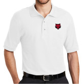 White Easycare Pique Polo-Red Wolf Head
