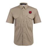 Khaki Short Sleeve Performance Fishing Shirt-Red Wolf Head