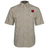 Khaki Short Sleeve Performance Fishing Shirt-Red Wolf Head