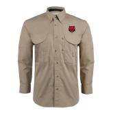 Khaki Long Sleeve Performance Fishing Shirt-Red Wolf Head
