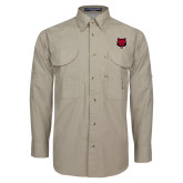 Khaki Long Sleeve Performance Fishing Shirt-Red Wolf Head