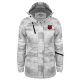 Ladies White Brushstroke Print Insulated Jacket-Red Wolf Head