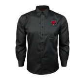 Red House Black Long Sleeve Shirt-Red Wolf Head