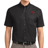Black Twill Button Down Short Sleeve-Red Wolf Head
