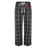 Black/Grey Flannel Pajama Pant-Red Wolf Head