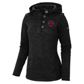 Columbia Ladies Darling Days Black Pullover-Red Wolf Head