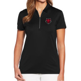 Ladies Callaway Tulip Sleeve Black Zip Polo-Red Wolf Head