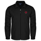 Full Zip Black Wind Jacket-Red Wolf Head