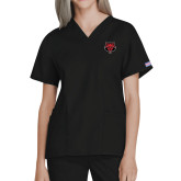 Ladies Black Two Pocket V Neck Scrub Top-Red Wolf Head
