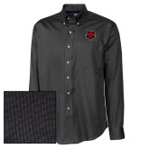 Cutter & Buck Black Nailshead Long Sleeve Shirt-Red Wolf Head
