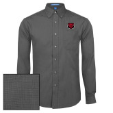 Mens Dark Charcoal Crosshatch Poplin Long Sleeve Shirt-Red Wolf Head