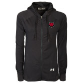Ladies Under Armour Black Varsity Full Zip Hoodie-Red Wolf Head