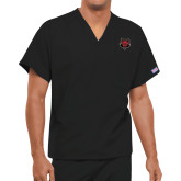 Unisex Black V Neck Tunic Scrub with Chest Pocket-Red Wolf Head