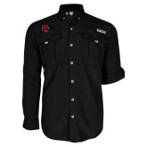 Columbia Bahama II Black Long Sleeve Shirt-Red Wolf Head