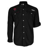 Columbia Bahama II Black Long Sleeve Shirt-Red Wolf Head