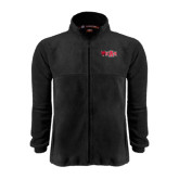 Fleece Full Zip Black Jacket-Red Wolf Head w/A State
