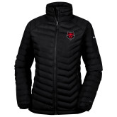 Columbia Powder Lite Ladies Black Jacket-Red Wolf Head