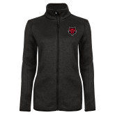 Black Heather Ladies Fleece Jacket-Red Wolf Head