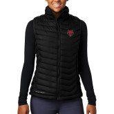 Columbia Lake 22 Ladies Black Vest-Red Wolf Head