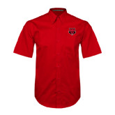 Red Twill Button Down Short Sleeve-Red Wolf Head