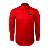 Red Twill Button Down Long Sleeve-Red Wolf Head