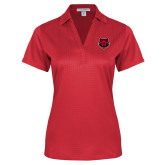Ladies Red Performance Fine Jacquard Polo-Red Wolf Head