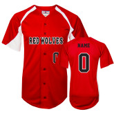 Replica Red Adult Baseball Jersey-Red Wolves Baseball Jersey