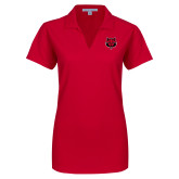 Ladies Red Dry Zone Grid Polo-Red Wolf Head